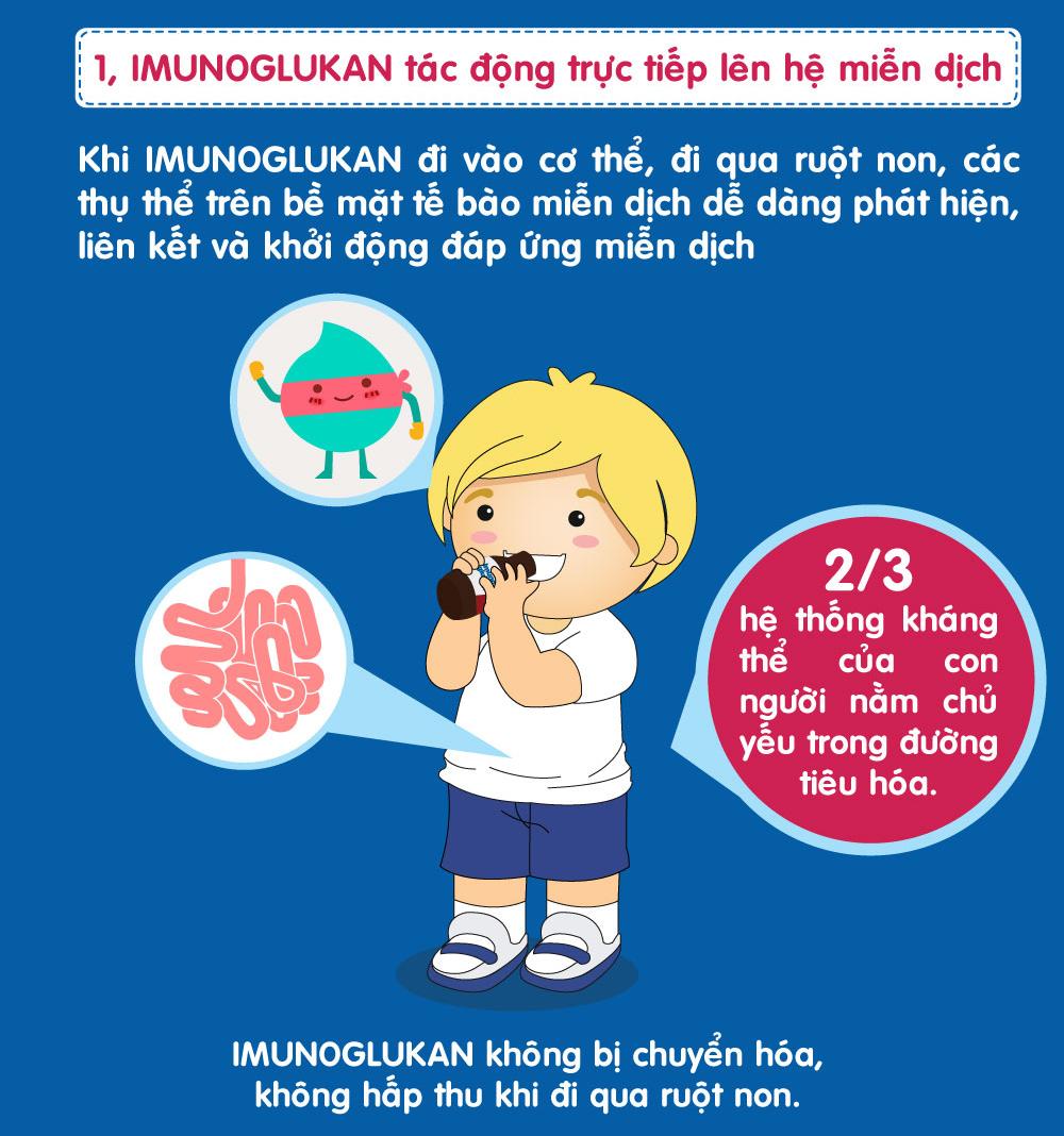 Imunoglukan tác động trực tiếp lên hệ miễn dịch